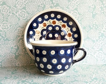 Vintage Boleslawiec Pottery Cup and Saucer - Handmade in Poland