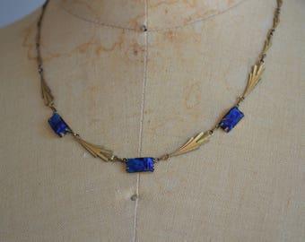 Ibis necklace - antique 1930s vermeil & glass collier - 30s art deco lapis coloured necklace