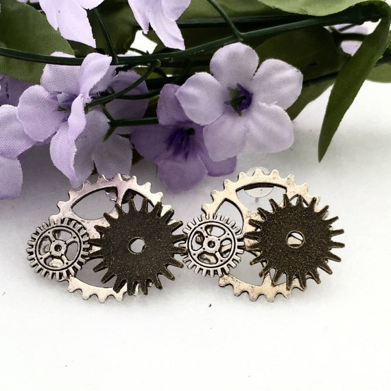 Steampunk Jewelry, Bicycle Gear Earrings, Gifts for Bikers Cyclists, Silver Bronze Steampunk Earrings, Bike Gear Charms, Bicycle Charms