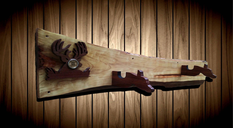 Wood Wall Deer Gun Rack Rustic Live Edge Cypress Walnut