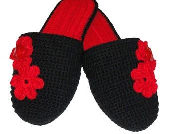 Crochet slippers with sole, Flowers, Bottoms, Flip flop, women's slippers
