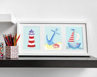 Nautical Kids Art, Lighthouse Art, Anchor Art, Sailboat Art, Nautical Kids Room, Kids Beach Art, Kids Art, Kids Prints, Baby Gift, Framed