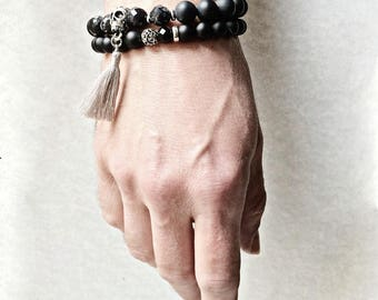 Agate Gemstone and Silver Skull Bracelet, tassel bracelet, black bracelet, men's bracelet, women's bracelet, gift for her, gift for him