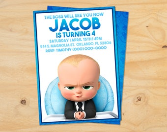 Custom The Boss Baby Birthday Invitation - 5x7 or 4x6