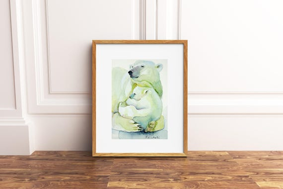 Bear mom and her puppy, A5 giclée fine art print of original artwork, watercolor on paper, gift idea for babies, home office decoration.
