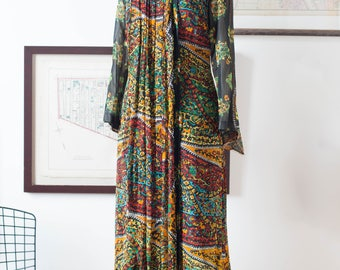 60's Ethnic Print Silk Gown