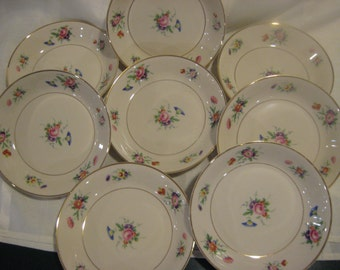 "Old Ivory ""Selma""? soup bowls - set of 8 - Syracuse China - pink, purple, blue and orange flowers"