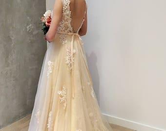 Light Creamy Champagne Deep V Lace Wedding Dress