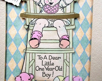 "Vintage Embellished child; ""One Year Old""  Birthday Card Suitable for Framing or Sending, Mixed Media  Repurposed, Vintage"