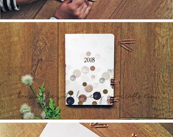 Planner 2018 . Monthly planner 2018 . Organizer 2018 . Journal 2018 . Gold foil Cover . Personalised monthly view Agenda