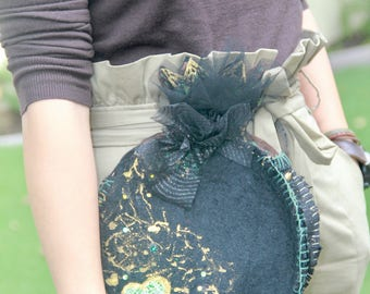"""Anar Clutch """"Jackson Pollack"""" Wool Lace Swarovski Felted Unusual Sparkle Green Persian Pomegranate Hand Sewn"""