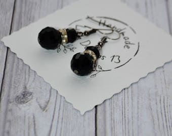 Black Crystal Earrings - Elegant Dangle Drop Earrings - Earrings Handmade - Gift For Her - Victorian Earrings - Valentines Gift For Women