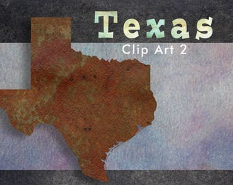 Texas State Clip Art - Rust and Green - High-Resolution Transparent PNG