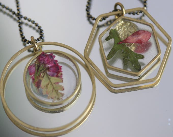 Wicklow Wildplant & Clear Resin Necklace | Brass and Resin | Irish Plant Necklace | Botanical Jewellery  | Jewelry | Geometric Jewellery