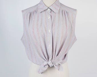 Colourful Striped Pleated Sleeveless Grey Vintage Women Blouse Size M