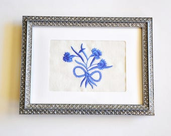 DAR Carnation Bouquet Frameable Embroidery/Greeting Card, Periwinkle on Cream Linen