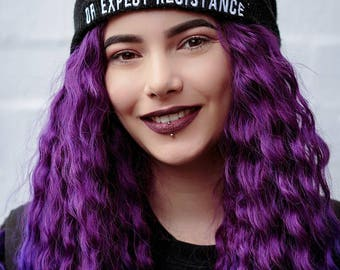 Vegan Cuffed Beanie 'Respect Existence or Expect Resistance' Anticarnist Vegan Clothing, Vegan Hat, Vegan Cap