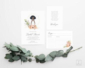 Bridal Shower Invitation, Custom Bridal Shower Invite, Bride Illustration, Printable Invitation, Illustrated Bridal Shower Invite, #IPP
