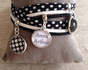 Cabochon - fabrics with polka dots - personalized name bracelet