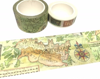 Map washi tape 8M x 2.5cm world Map ancient map sticker tape map theme map deco map sticker traveller diary travel planner accessories gift