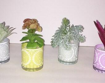 Faux Succulent Planter in Pastel Colored Glass, Desk Accessory, Artificial Succulent Planter, Tabletop Decoration, Succulent Gift
