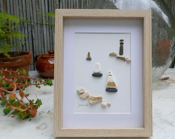 Maritime, Sea View. Sailboats and lighthouse. Table in sea glass and pebbles. Sailboats leaving the harbor.  Father's day gift.