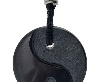 Yin Yang Black Obsidian Gemstone Pendant Hand Carved Stone Necklace Jewelry