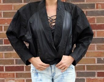 80's Black Leather Moto Jacket