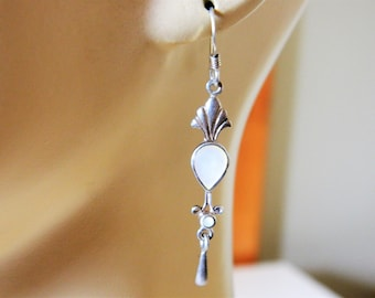 "Vintage .925 Sterling Silver Mother of Pearl Dangle Drop Earrings 2"", Delicate Earrings, Shell Earrings, MOP Earrings, Bride Earrings"