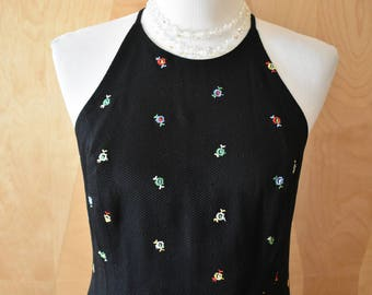 Vintage 90s Ann Taylor Black Embroidered Floral Open Back Sleeveless Dress Size 8