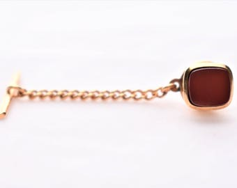 Vintage Square Red Tie Tack Pin Bar and Chain Marked Germany Gold Tone Men's Gift Suit Tie Accessories