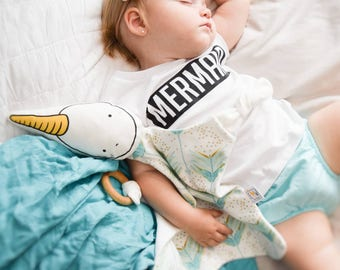 Organic baby lovey, modern stuffed animal blanket, natural teething toy, narwhal turquoise and gold arrows