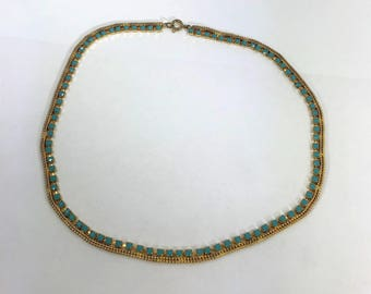 A Lovely Vintage Gold Tone and Turquoise Stone Necklace