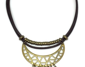"Necklace ""Kuzco"" ethnic bib leather, brass and natural stones"