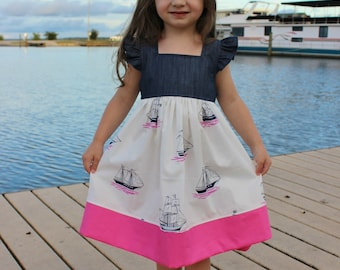 SAIL AWAY - toddler, girls, nautical, dress, flutters, sail boats