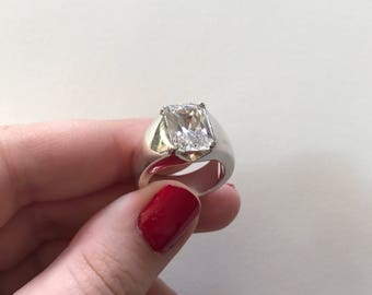Large Vintage Radiant Cubic Zirconia Thick 925 Sterling Silver Band Ring