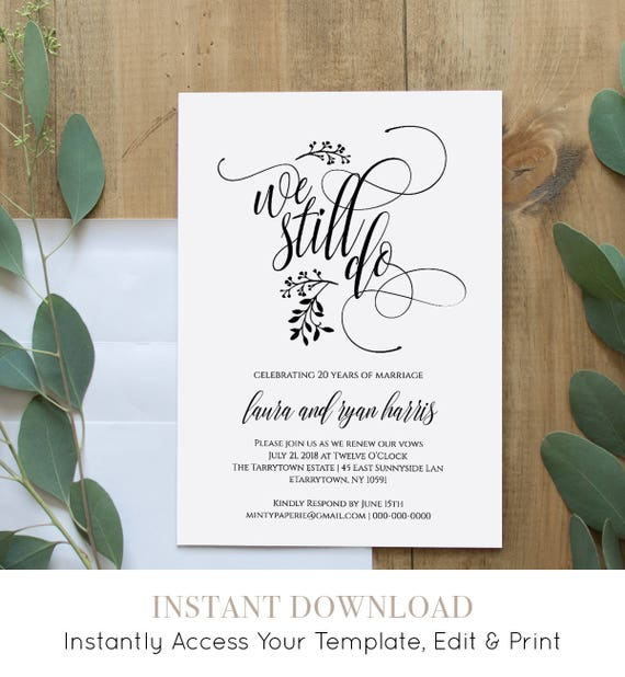 Vow Renewal Invitation Template, Printable, We Still Do, Instant Download, Wedding Anniversary, Renew Vow, Editable Template, DIY #020-106VR