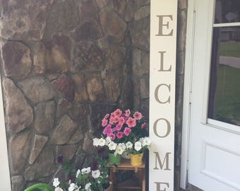 6' Welcome Outdoor Sign, Welcome Vertical Sign, Rustic Hand painted  Welcome Sign, Outdoor Sign For The Front Porch,  Housewarming gift