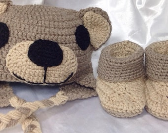 """Set Peruvian hat and booties for baby from birth to 12 months """"Bear"""""""