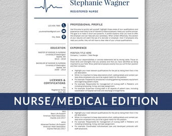 Nurse Resume | Etsy  Nurse Resume Templates
