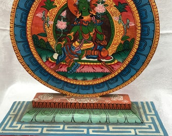 Green Tara Painting on Wooden Stand