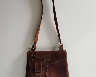 Vintage brown leather bag from 1940's in a trapesium shape. Very unusual.