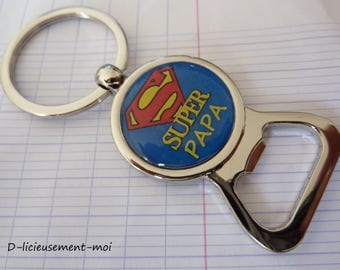Keychain bottle opener silver-plated super dad father's day cocktails/gift idea man super hero