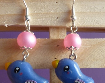 Earrings in sterling silver 925 blue kawaii bird polymer clay fimo and Pearl Pink