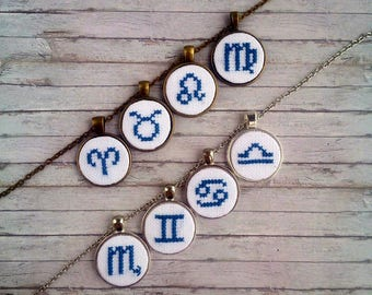Personalized gift for her Embroidery zodiac jewelry for mom gift for sister Zodiac necklace Astrology jewelry gift for co worker Pisces Leo