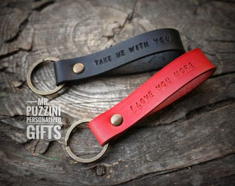 Personalized Leather Keychain - Custom Anniversary Date Key Fob - Personalized 3rd Anniversary Keychain - Third Anniversary Initials Keyring