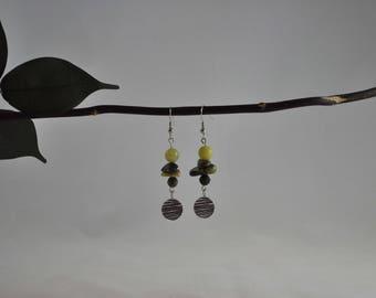 Yellow turquoise earrings, New jade earrings, Serpentine earrings, Silver earrings, Silver jewelry, Dangle earrings