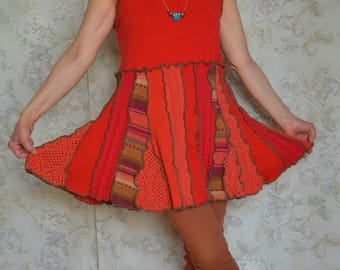 Upcycled sweater tunic, Summer tunic, Dark orange, Recycled, Hippie clothing