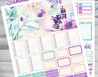 Printable planner stickers, Fits Erin Condren Planner, Watercolor floral stickers, weekly kit, Lavender, planner sticker kit, cutfiles