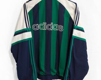 Vintage 90' Adidas Windbreaker Jacket Big logo Spell out  Green/Blue/White Size L/XL